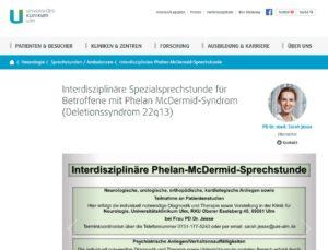 Interdisziplinäre Spezialsprechstunde für Betroffene mit Phelan McDermid-Syndrom